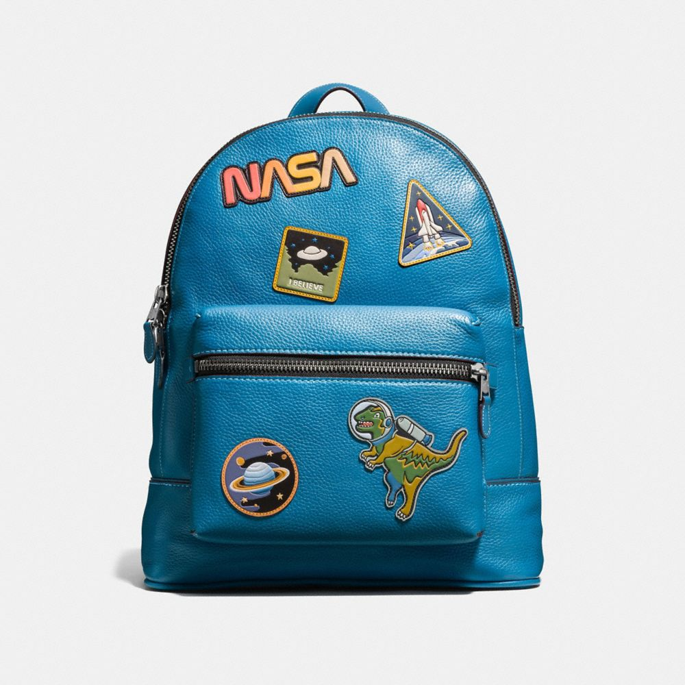 LEAGUE BACKPACK IN GLOVETANNED PEBBLE LEATHER WITH SPACE PATCHES - Alternate View