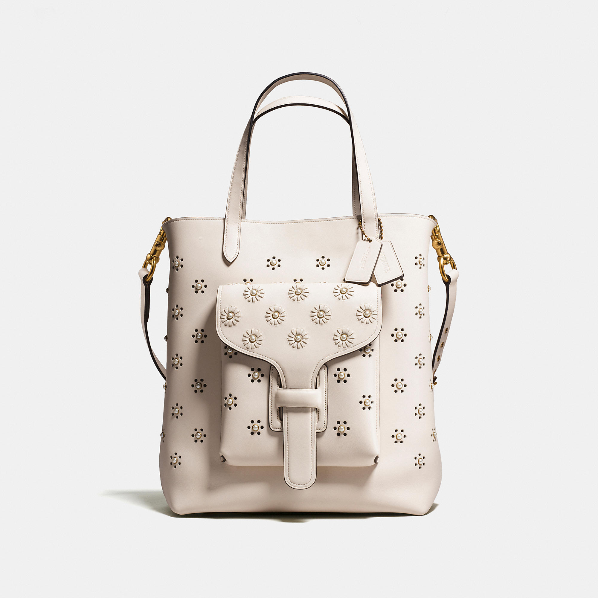 Coach Pocket Tote In Glovetanned Leather With Whipstitch Eyelet