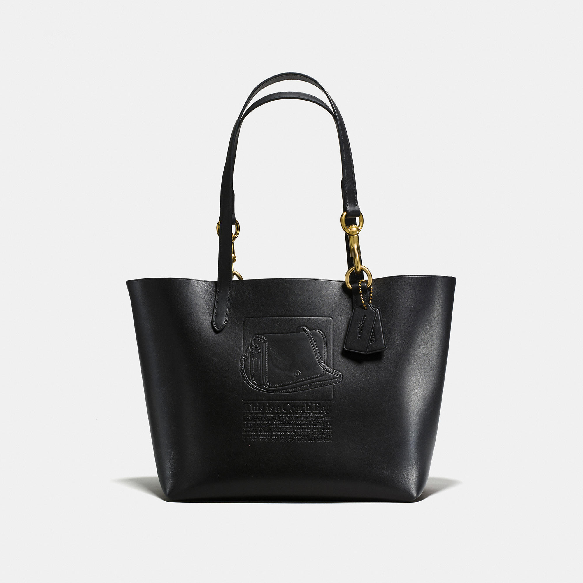 Coach Tote In Glovetanned Leather With Embossed Archive Print