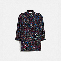 DOT PRINT SHORT SLEEVE BLOUSE - BLACK/BLUE - COACH 1151
