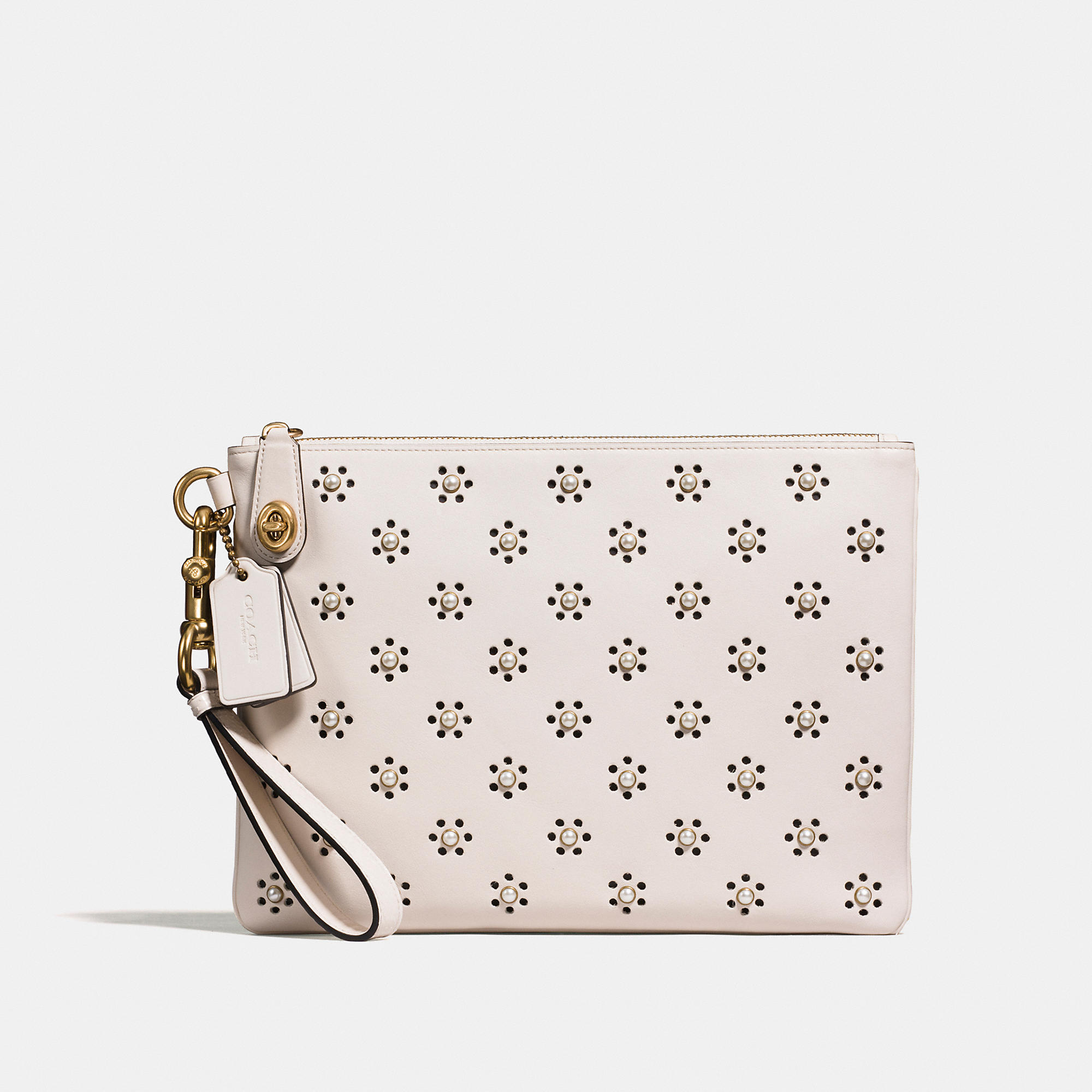 Coach Turnlock Wristlet 30 In Glovetanned Leather With Whipstitch Eyelet