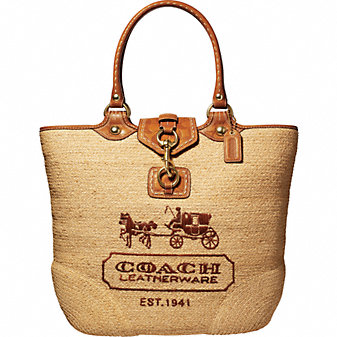 Coach Official Site - BLEECKER STREET STRAW LARGE TOTE from coach.com