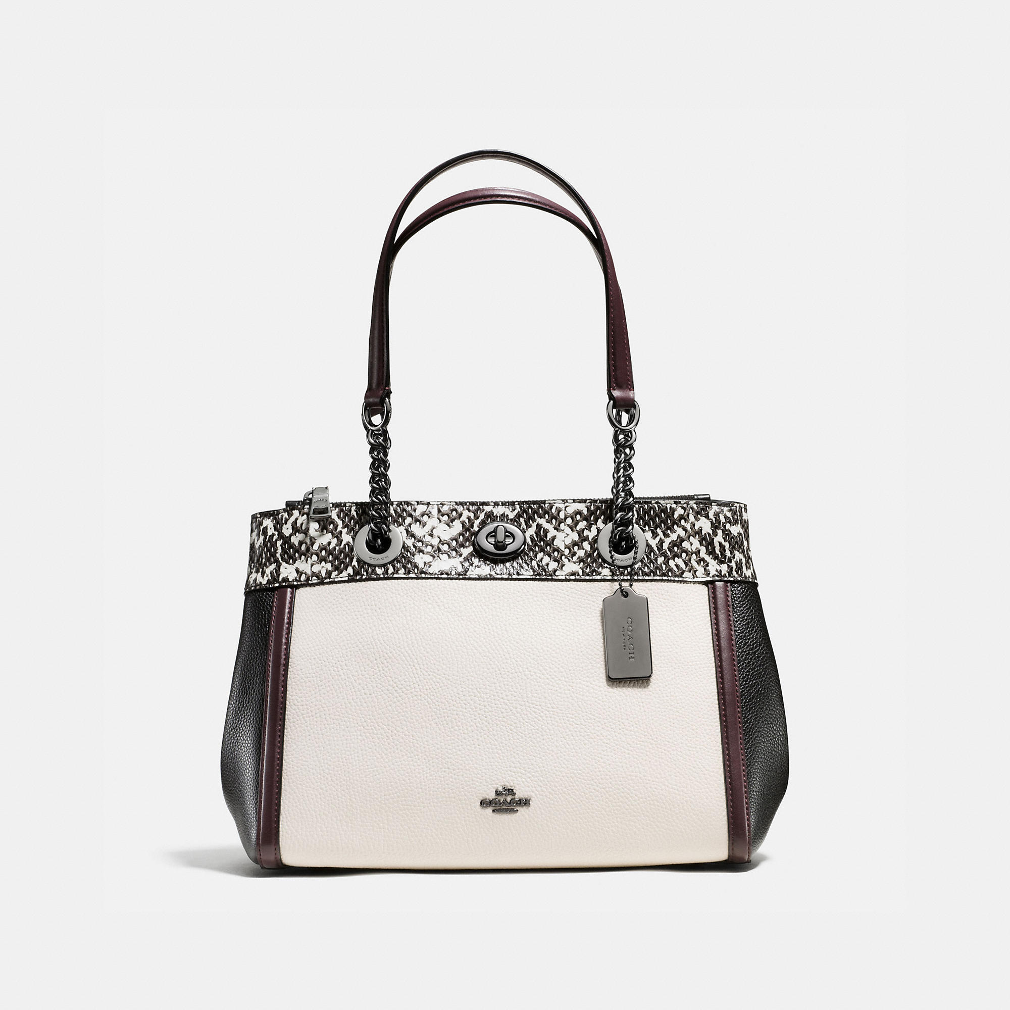 Coach Turnlock Edie Carryall In Colorblock Polished Pebble Leather With Snake Trim