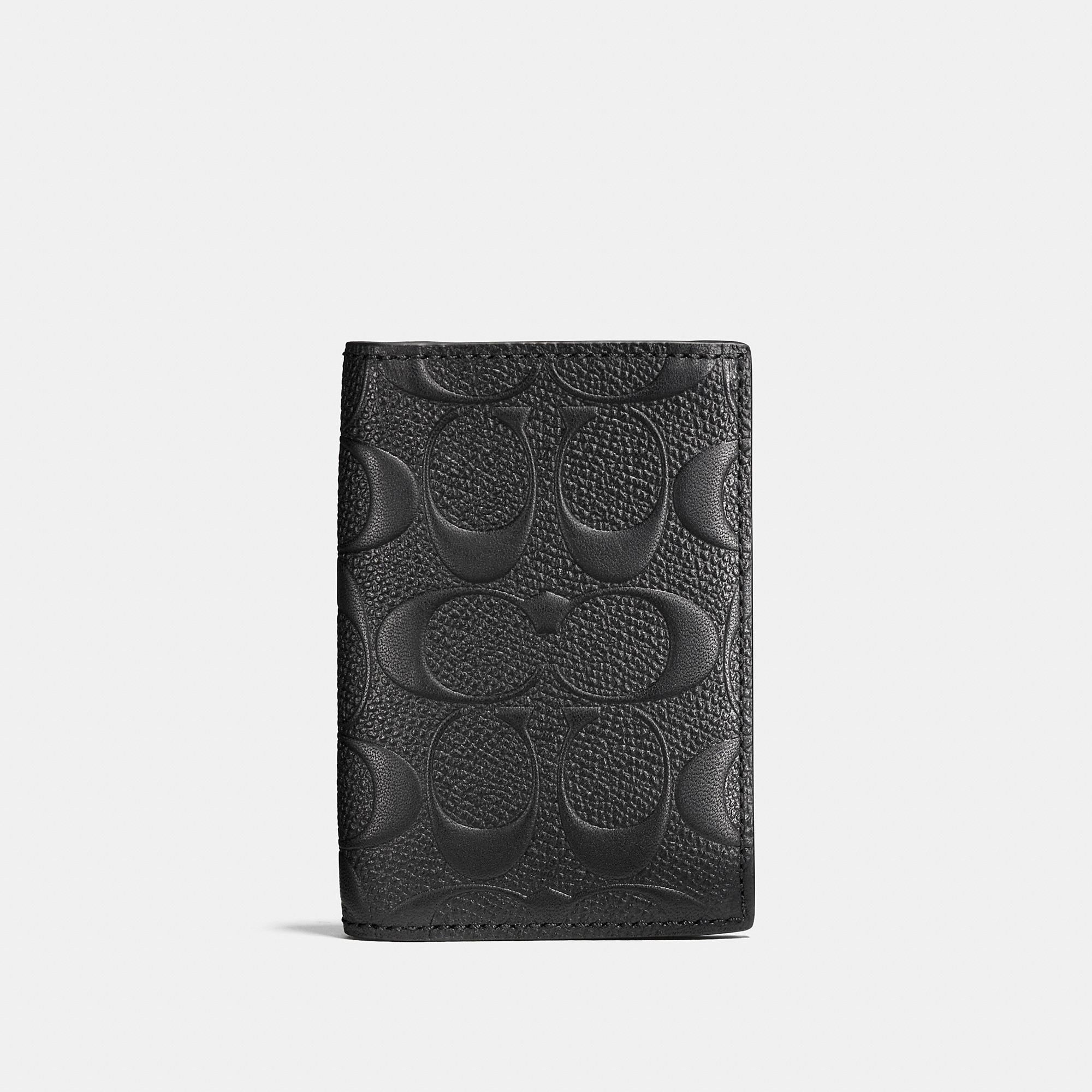 Coach Bifold Card Case In Signature Crossgrain Leather