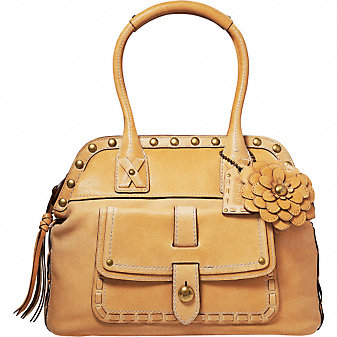 Coach Official Site - LEGACY THOMPSON LEATHER TOP HANDLE WITH FLORAL APPLIQUE :  neutral trend woven slim coach