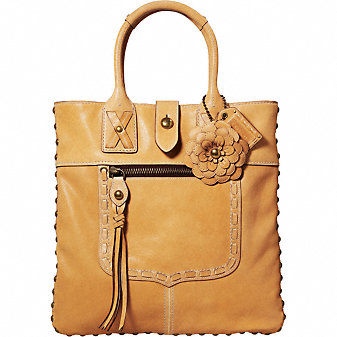 Coach Official Site - LEGACY THOMPSON SLIM LEATHER TOTE WITH FLORAL APPLIQUE from coach.com