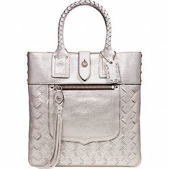 Coach Official Site - LEGACY THOMPSON WOVEN METALLIC SLIM TOTE from coach.com