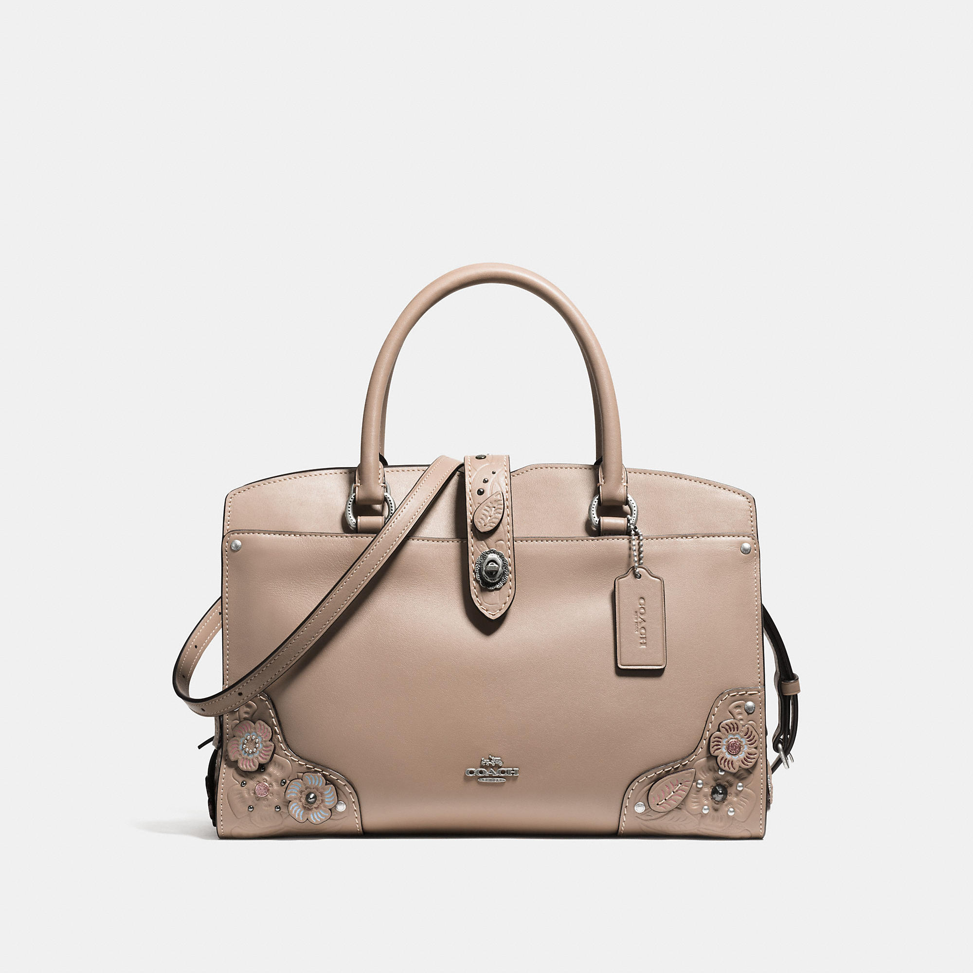 Coach Mercer Satchel 30 In Glovetanned Leather With Painted Tea Rose And Tooling