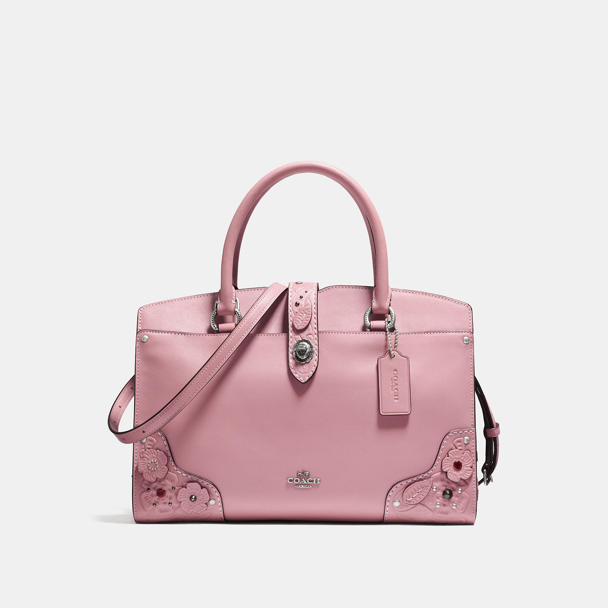 Coach Mercer Satchel 30 In Glovetanned Leather With Tea Rose And Tooling