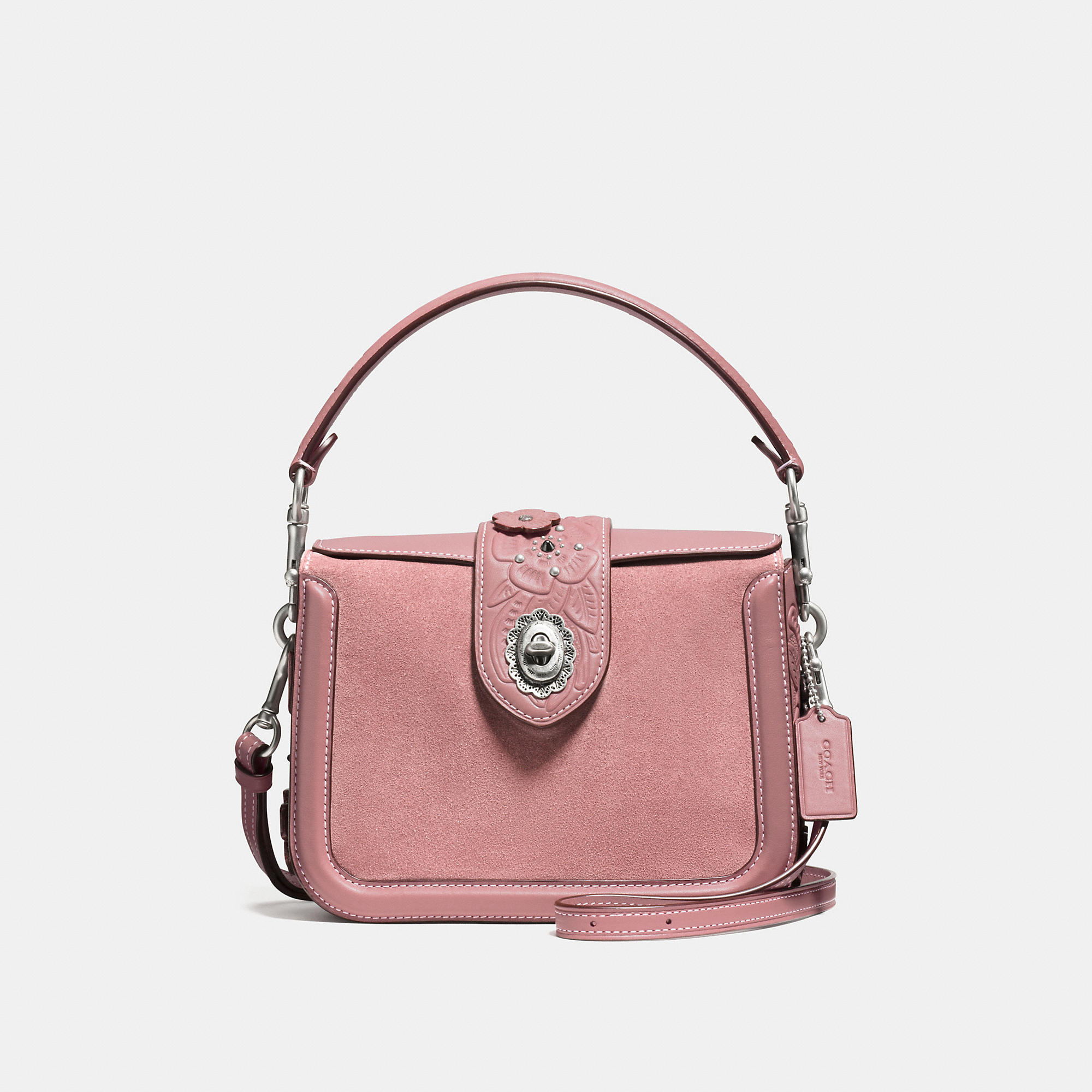 Coach Page Crossbody In Glovetanned Leather With Tea Rose Tooling