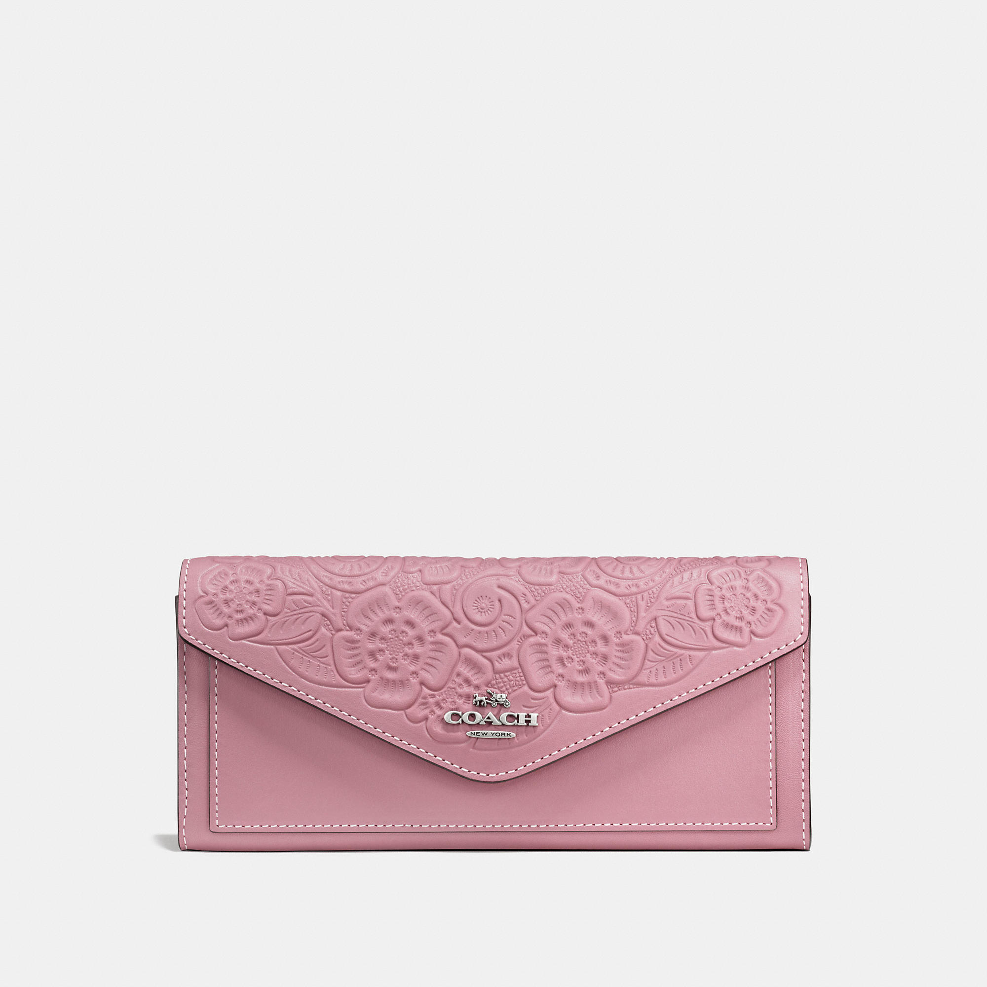Coach Soft Wallet In Glovetanned Leather With Tea Rose Tooling