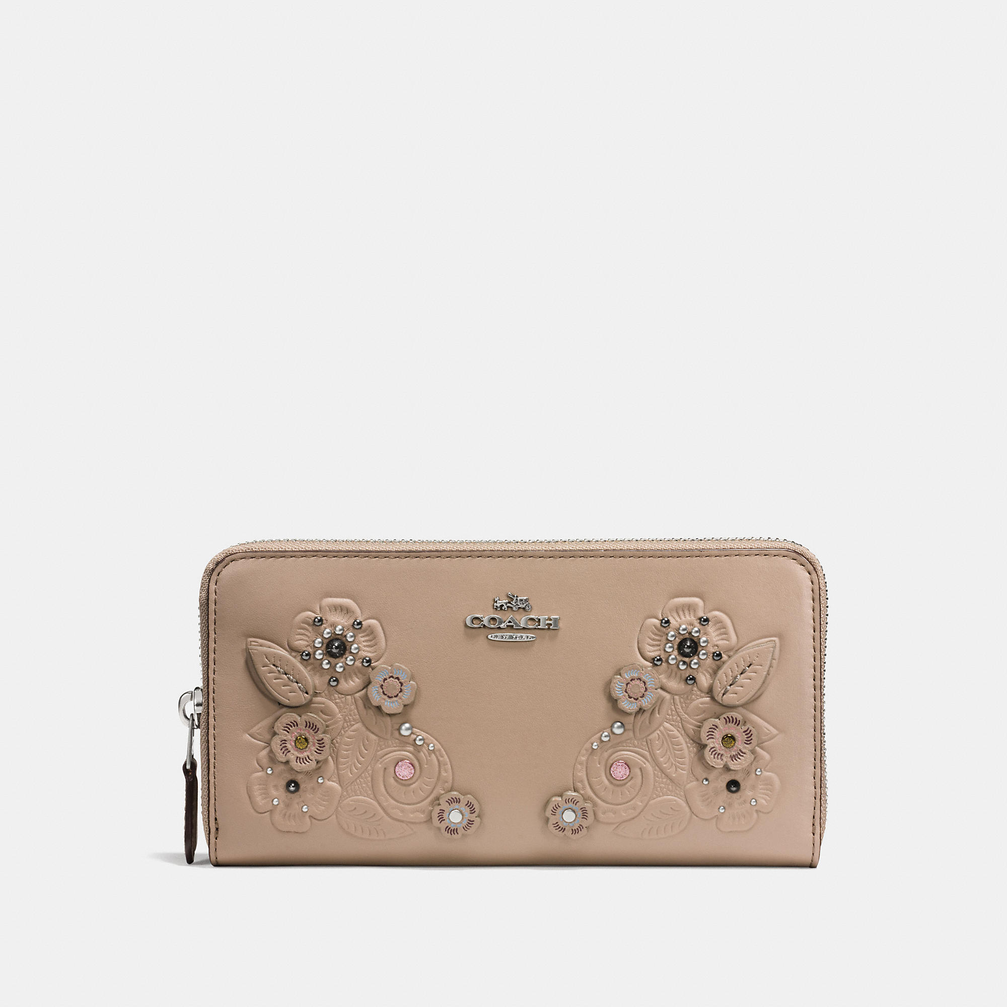 Coach Accordion Zip Wallet In Glovetanned Leather With Tea Rose Tooling