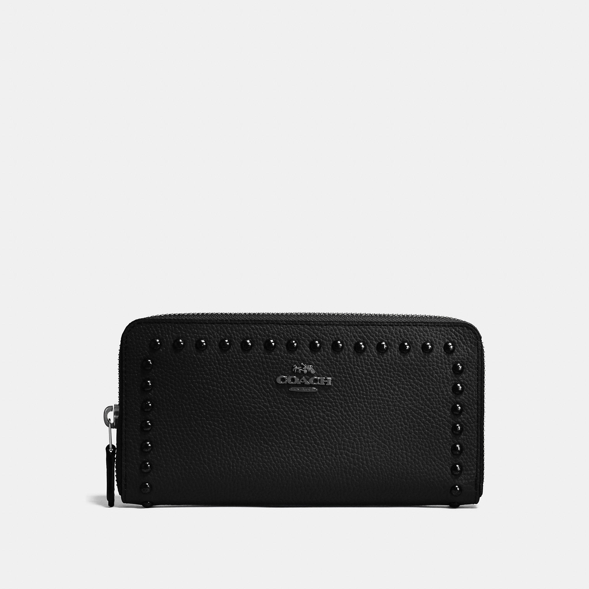 Coach Accordion Zip Wallet In Polished Pebble Leather With Lacquer Rivets