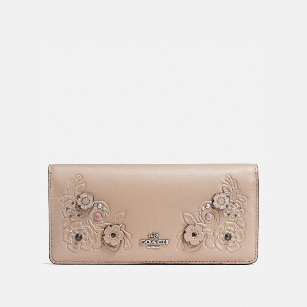 Coach Slim Wallet With Tea Rose and Tooling