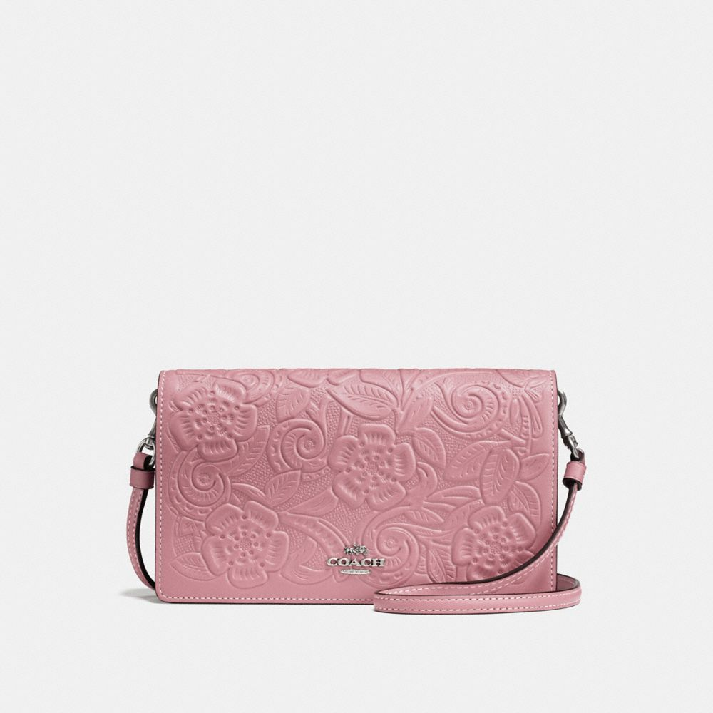 FOLDOVER CROSSBODY CLUTCH WITH TEA ROSE TOOLING