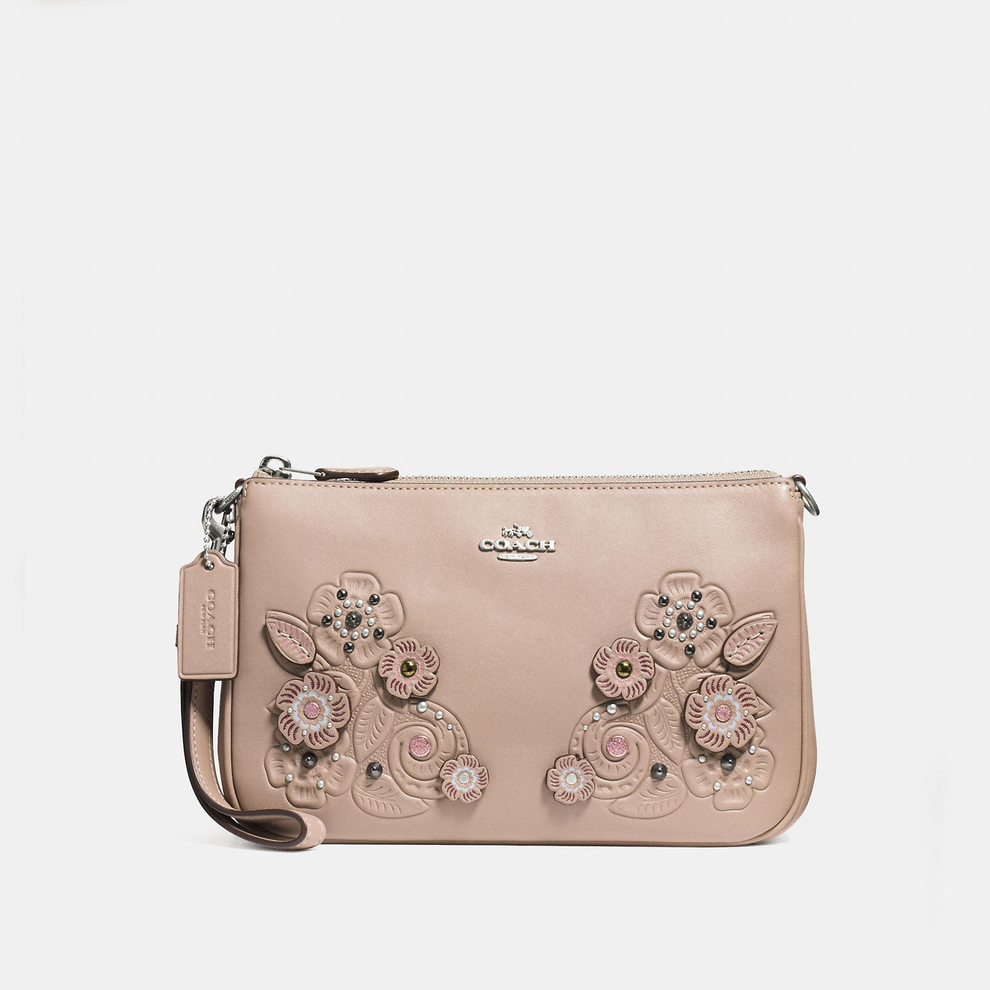 Coach Nolita Wristlet 22 In Glovetanned Leather With Tea Rose And Tooling