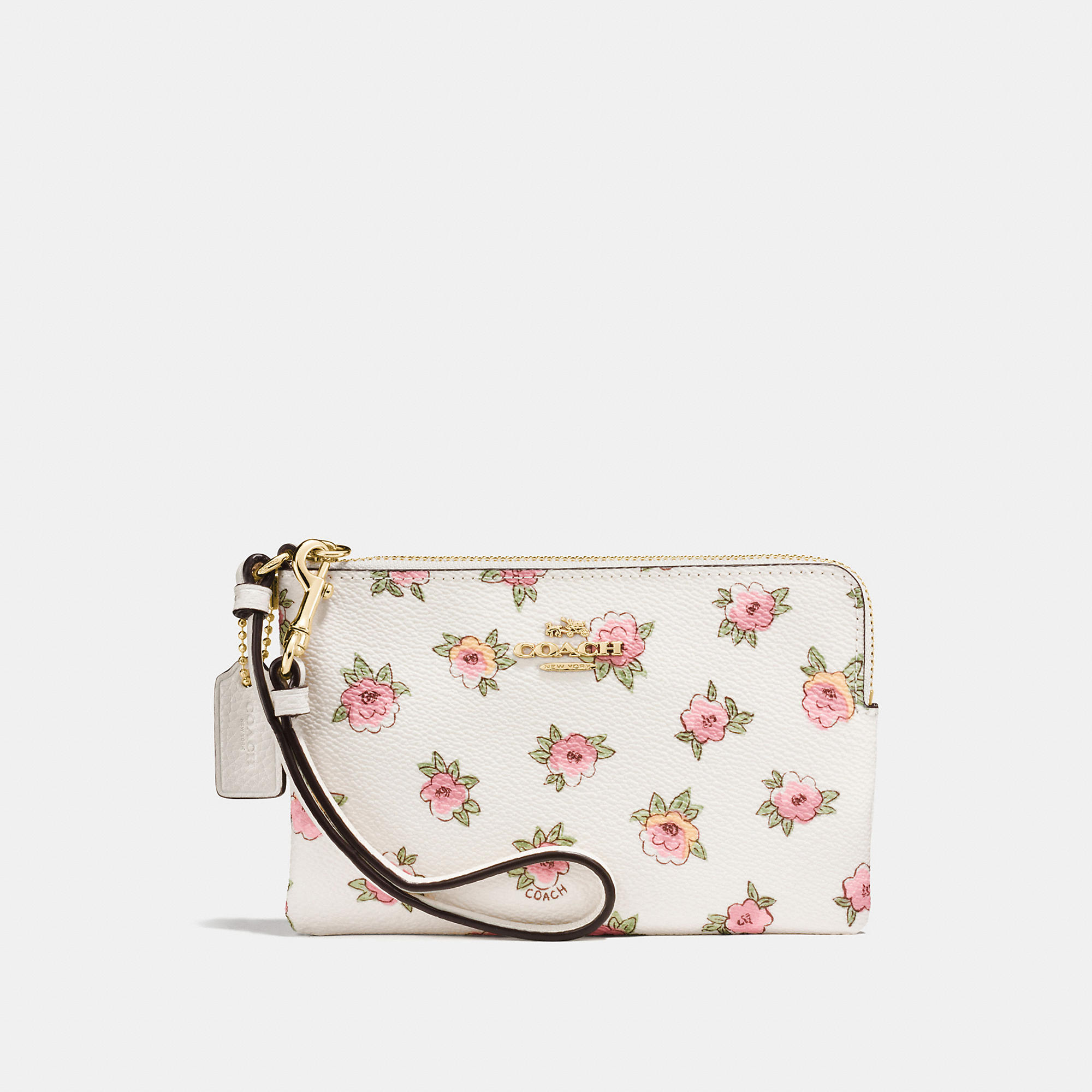Coach Small Wristlet In Flower Patch Print Coated Canvas