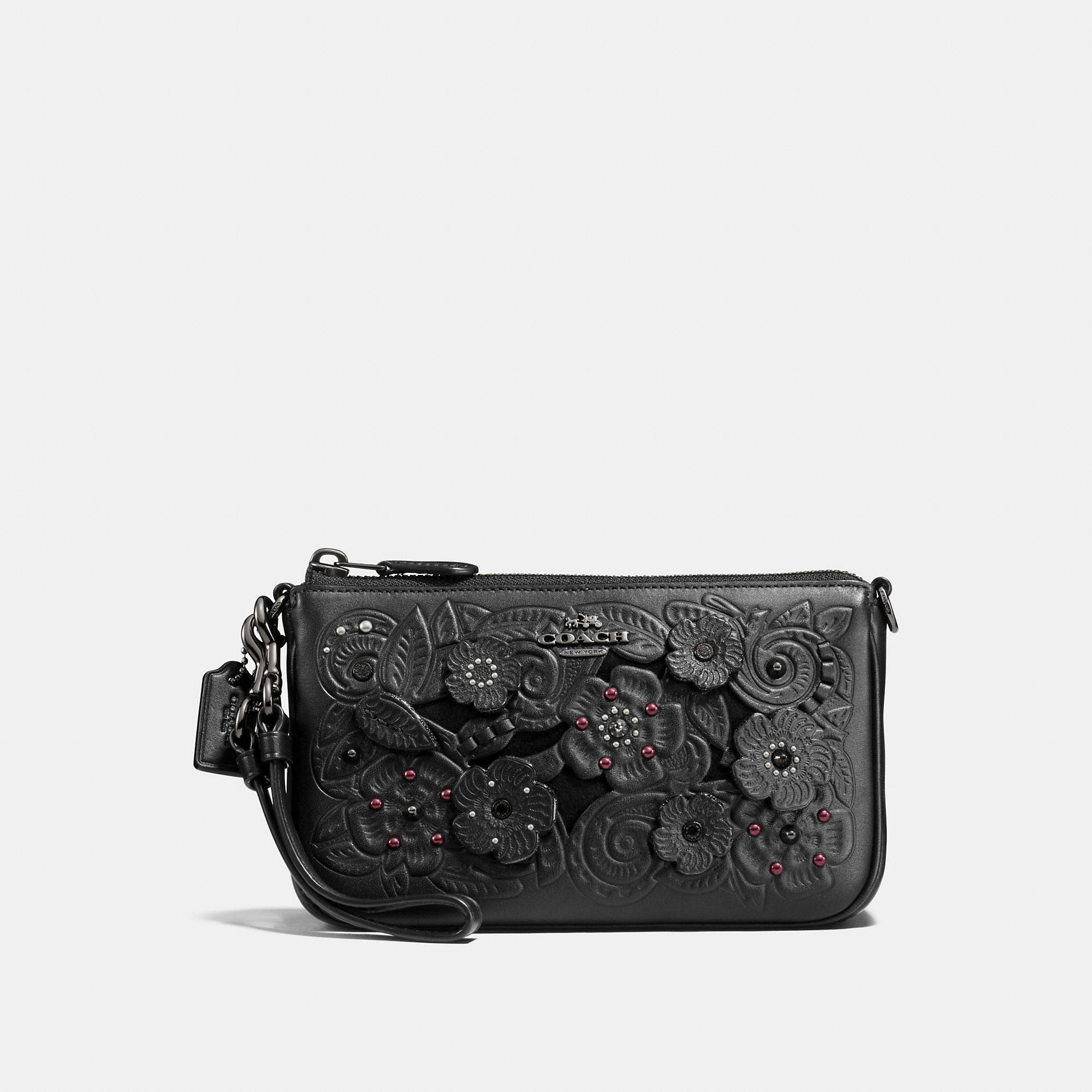 Coach Nolita Wristlet 19 In Glovetanned Leather With Tea Rose Tooling