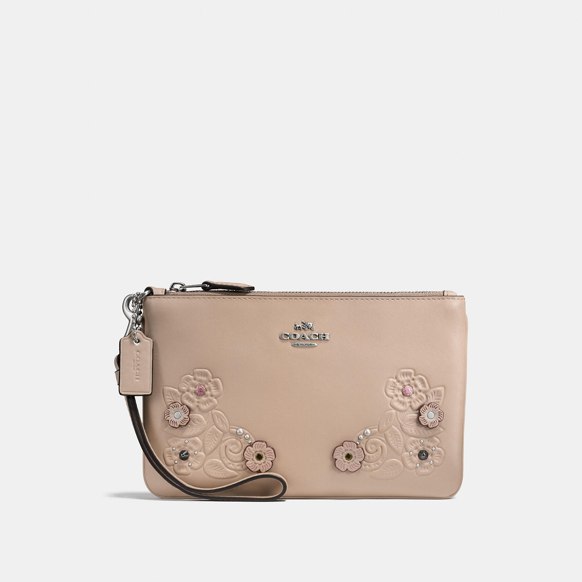 Coach Small Wristlet In Glovetanned Leather With Tea Rose Tooling