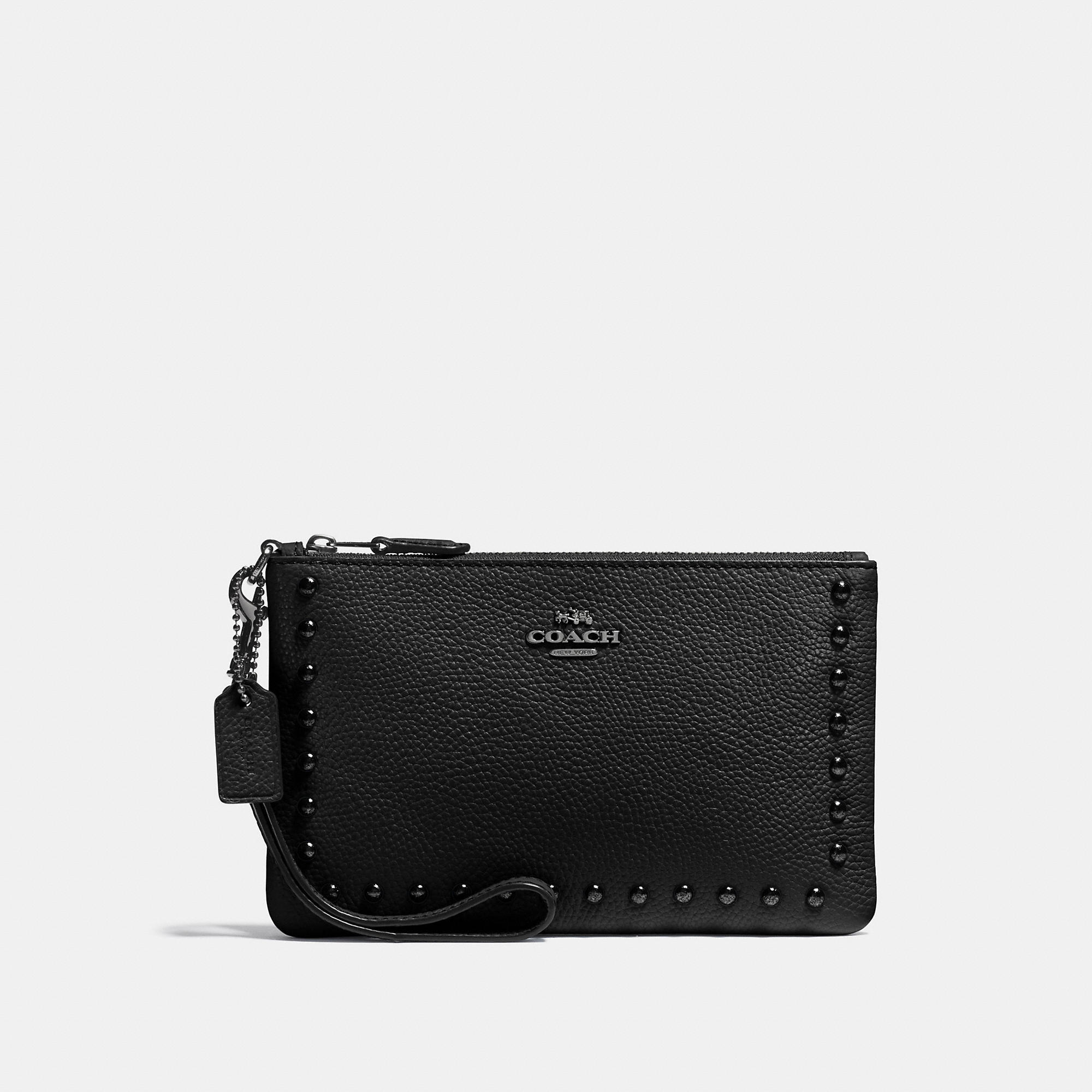 Coach Small Wristlet In Polished Pebble Leather With Lacquer Rivets