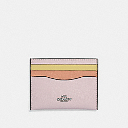 CARD CASE IN COLORBLOCK - ICE PINK MULTI/SILVER - COACH 12070