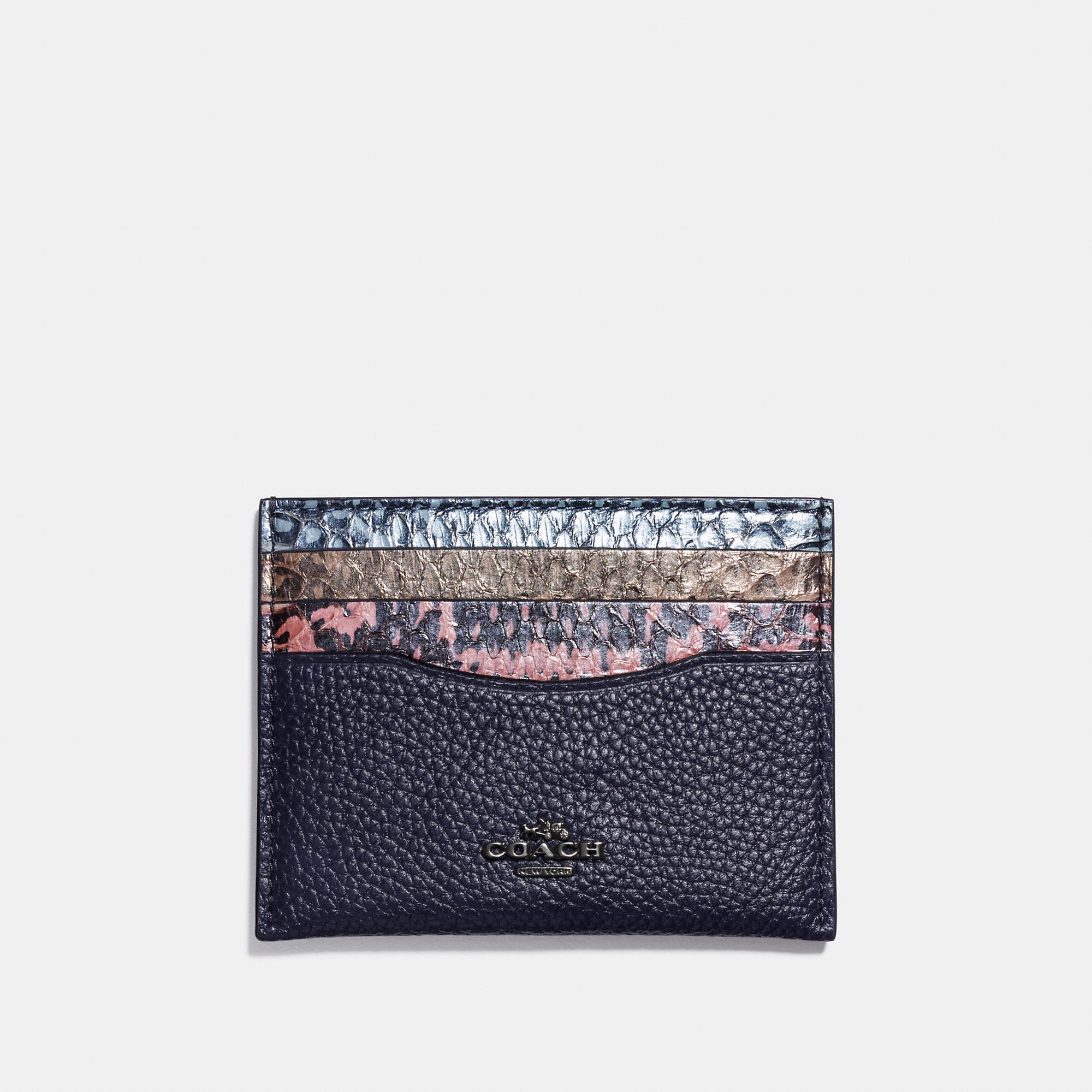 Coach Flat Card Case In Striped Mixed Snake