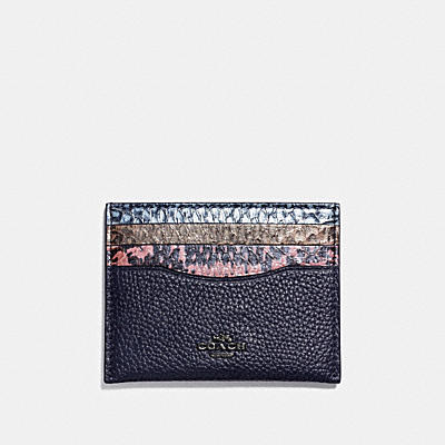 FLAT CARD CASE IN STRIPED MIXED SNAKESKIN
