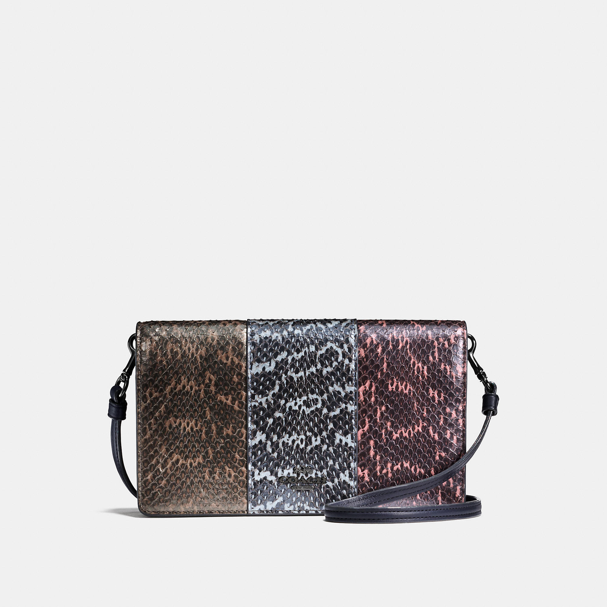 Coach Foldover Crossbody Clutch In Striped Mixed Snake