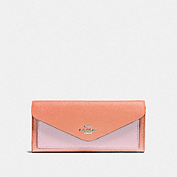 SOFT WALLET IN COLORBLOCK - BLACK COPPER/DARK BLUSH MULTI - COACH 12122