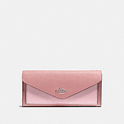 SOFT WALLET IN COLORBLOCK - SV/LIGHT BLUSH MULTI - COACH 12122