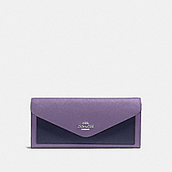 SOFT WALLET IN COLORBLOCK - DUSTY LAVENDER MULTI/SILVER - COACH 12122