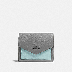 SMALL WALLET IN COLORBLOCK - HEATHER GREY MULTI/DARK GUNMETAL - COACH 12123