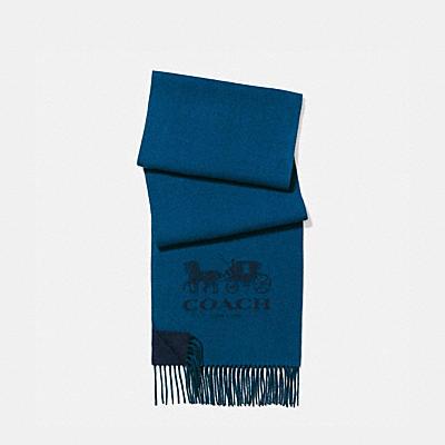 喀什米爾羊毛雙色標誌圍巾
