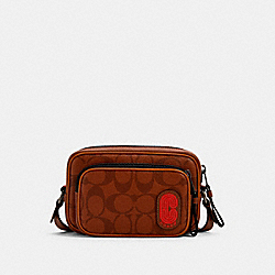 MINI EDGE DOUBLE POUCH CROSSBODY IN SIGNATURE CANVAS WITH COACH PATCH - QB/REDWOOD MULTI - COACH 1217