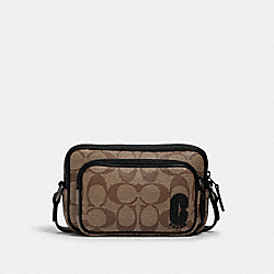 MINI EDGE DOUBLE POUCH CROSSBODY IN SIGNATURE CANVAS WITH COACH PATCH - QB/TAN BLACK - COACH 1217