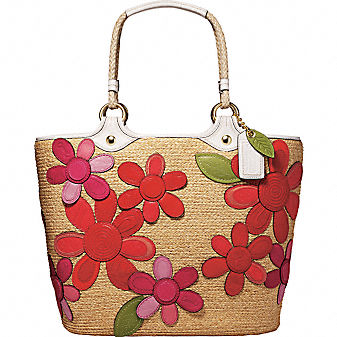 Coach Official Site - STRAW FLORAL EXTRA LARGE TOTE from coach.com