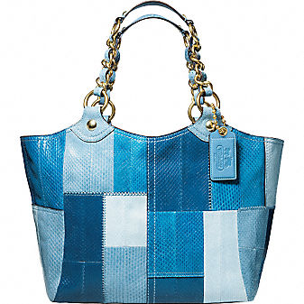 Coach BLEECKER LEATHER PATCHWORK SNAKESKIN LARGE TOTE :  blue handbag womens brass