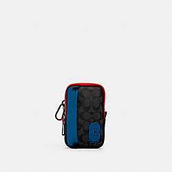 NORTH/SOUTH HYBRID POUCH IN COLORBLOCK SIGNATURE CANVAS WITH COACH PATCH - QB/CHARCOAL/ BLUE JAY MULTI - COACH 1264