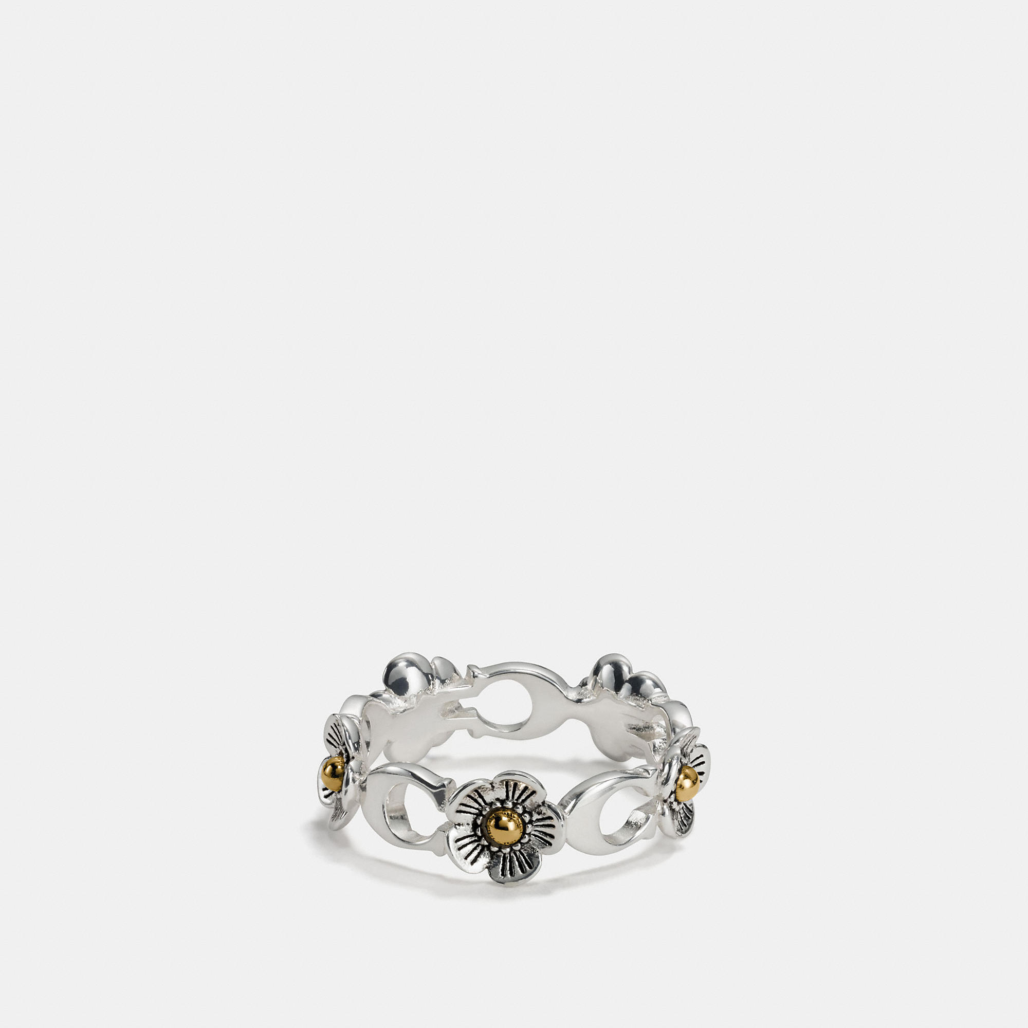 Coach Sterling Silver Ditsy Willow Floral Ring