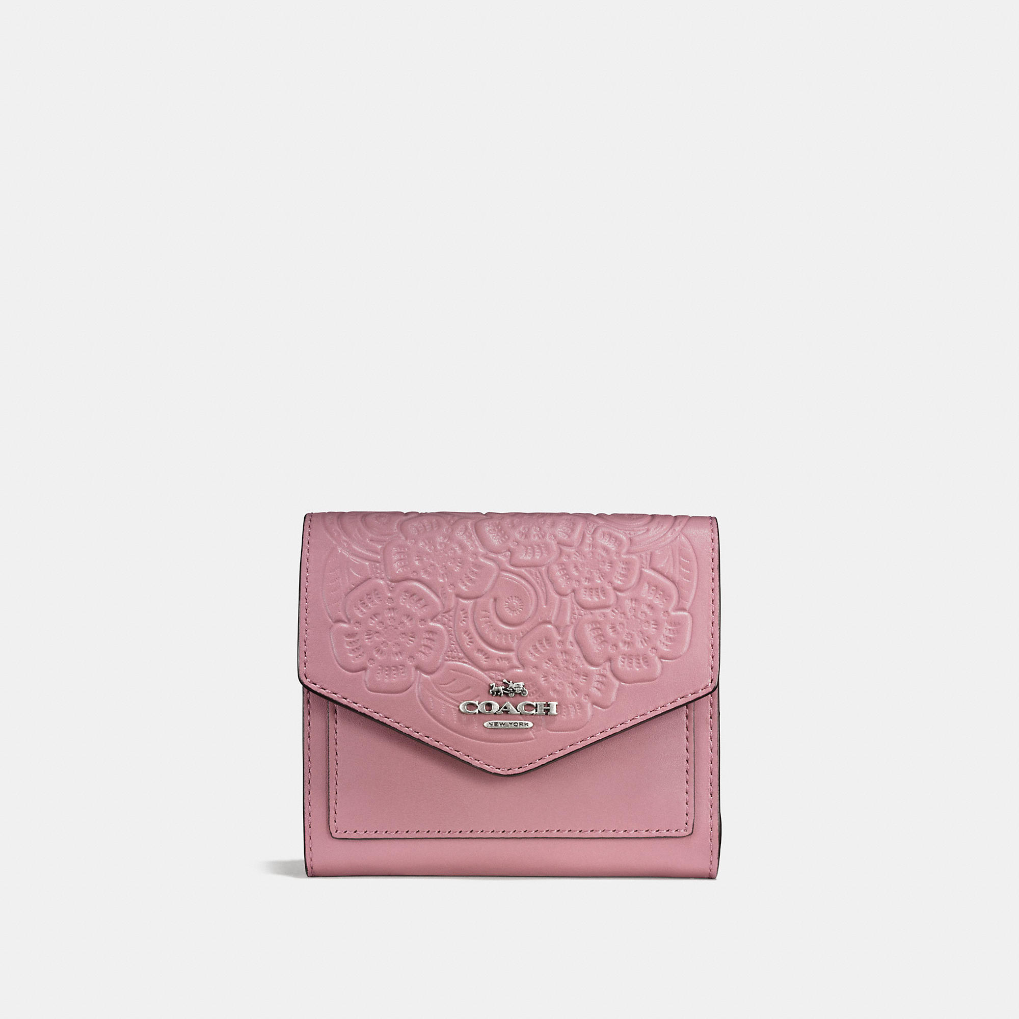 Coach Small Wallet In Glovetanned Leather With Tea Rose Tooling