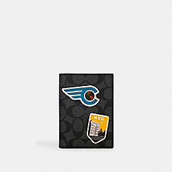 PASSPORT CASE IN SIGNATURE CANVAS WITH TRAVEL PATCHES - QB/CHARCOAL MULTI - COACH 1283