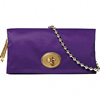 Coach Official Site - AMANDA SATIN FOLDOVER CLUTCH from coach.com