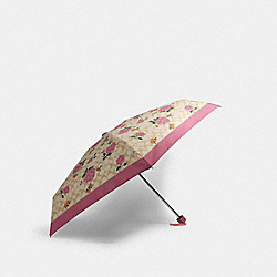 MINI UMBRELLA IN SIGNATURE PRAIRIE ROSE PRINT - SV/LIGHT KHAKI/PINK - COACH 1307
