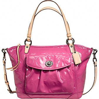 Coach Official Site - EMBOSSED OP ART PATENT LEAH :  art handbags totes official