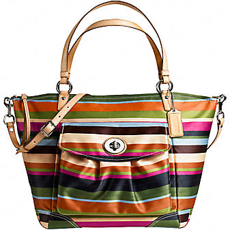 Coach Official Site - LEGACY STRIPE LARGE LEAH TOTE :  wallets bags shoes leather goods
