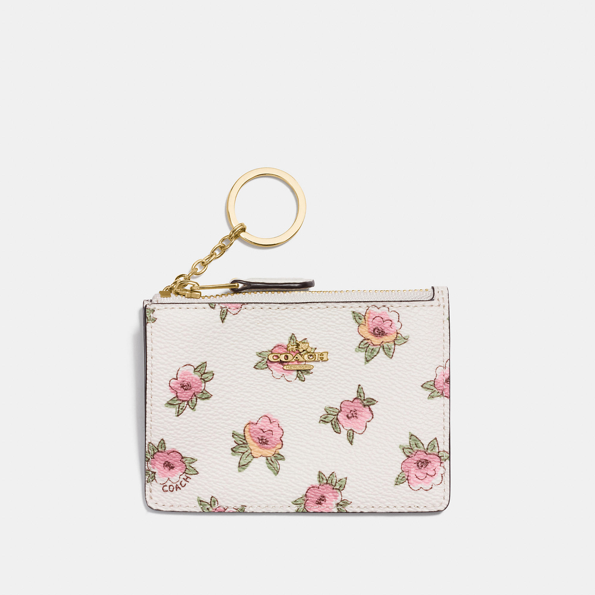 Coach Mini Skinny Id Case In Flower Patch Print Coated Canvas