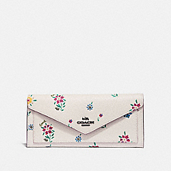 SOFT WALLET WITH WILDFLOWER PRINT - V5/CHALK - COACH 1363