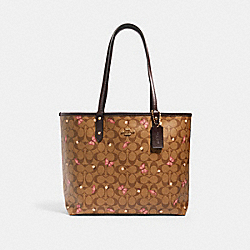 REVERSIBLE CITY TOTE IN SIGNATURE CANVAS WITH BUTTERFLY PRINT - IM/KHAKI PINK MULTI/OXBLOOD - COACH 1461