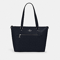 GALLERY TOTE IN SIGNATURE LEATHER - SV/MIDNIGHT - COACH 1499