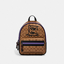 VALE MEDIUM CHARLIE BACKPACK IN SIGNATURE CANVAS WITH REXY BY GUANG YU - QB/KHAKI BLACK MULTI - COACH 1509